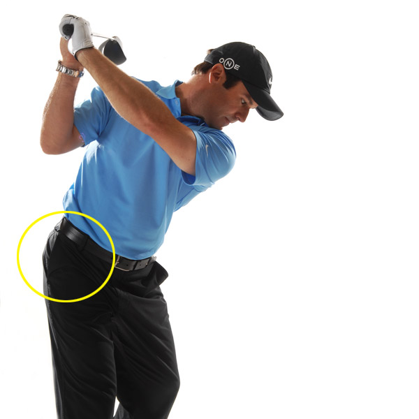 TRUST THIS!                       Turn your right hip pocket behind you and feel like your clubhead and torso are moving together. They should arrive at the top at the same time.