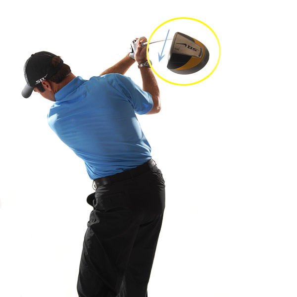 HOW TO BUILD TRUST IN YOUR TOP POSITION                       Point the toe down and cup your left wrist As I swing the club to the top, I picture the toe of my driver hanging down in an open position and a cup in my left wrist. People will tell you that this leads to slicing, but it actually frees you up to swing down hard and release the club without fear, something you can't do if the face is closed. Most great golfers — the ones that have stood the test of time — point the toe down and cup their left wrist at the top.                                              TRUST THIS!                       Point the toe of your club down at the top to jump-start a powerful release through the ball.