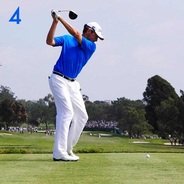 4. Davis completes the backswing with a smooth blend of the winding of his upper body and a completion of his arm swing and wrist hinge. His old swing was longer, with his hands higher, and was more difficult to time. (See, it's never too late to make a swing change!)                     His hands used to be here.