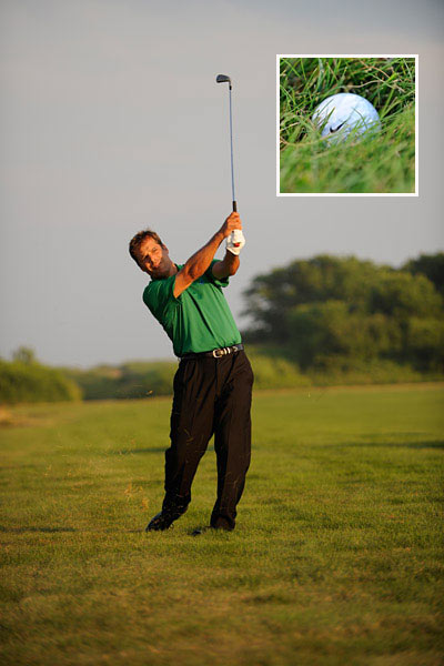 How to Plan a Rough Escape                        Your lie — not your distance — is the key consideration                       By Eden Foster                       Top 100 Teacher                                              This story is for you if...                                              • You never analyze your lie unless you're absolutely buried in the rough.                                              • You blame your swing for all your bad shots, not the lie.                                              The Situation                       Your tee shot has landed in the rough about 200 yards from the green. You know you can reach the pin with a 3-wood or a long iron, but you're not sure how the grass will affect your swing. You fear coming up short, but you really want to get this ball on in regulation.                                              The Solution                       Check how deeply the ball is sitting in the grass to determine whether you should go for the green or hit a safe layup.                                              HIT A LAYUP                       The ball is too deep in the rough to get the solid contact you need to travel the full distance to the green. Take your 5-hybrid or 6-iron and swing down sharply on the ball, almost like a punch shot. Since all you're worried about here is clean contact, how you finish is insignificant. This means that your finish will be short (hands even with your shoulders).                                              THE RULE: Ball sitting low, finish low.