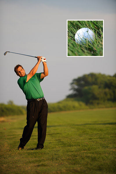 "GO FOR IT                       Once you make the decision to knock this ball on, don't hold back. However, this doesn't mean you should swing out of your socks. Firm up your grip pressure (an ""8"" on a 1 to 10 scale) and smoothly swing to a full finish with a full release of the clubhead. This means that your finish will be high (hands way above your shoulders).                                              THE RULE: Ball sitting high, finish high."