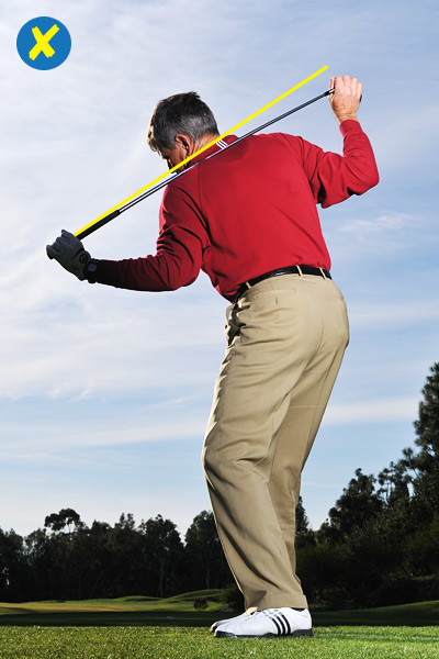 How to Make a Proper Pivot                     Turning back correctly makes the rest of your swing easy                     By Kip Puterbaugh                     Top 100 Teacher                                          The Problem                     You follow slices with hooks, and mix in a steady collection of pushes and pulls.                                          Why It's Happening                     An erratic shot pattern is typically the result of a bad turn through the ball. But before you begin tinkering with your downswing, check your move away from the ball. If you aren't pivoting correctly on your backswing, you're not giving yourself the chance to pivot correctly on your way back down.                                          How To Check Your Pivot                     Hold your driver against your shoulder blades with your left hand on the grip and your right hand on the hosel. Get into your address position and make a mock backswing. Stop at the top and check the position of the shaft.                                          IF THE SHAFT POINTS BEYOND THE BALL...                     Your turn is too flat. A flat shoulder turn moves your head too far to the right on the backswing, making it difficult to get all the way back to your left side at impact. This is the cause of your pushes and hooks.