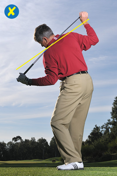 IF IT POINTS AT THE BALL... Your turn is too steep. A steep shoulder turn tends to move your head in front of the ball as you swing the club to the top. Your natural reaction is to move it back on your downswing in a reverse pivot. Hello, slice!