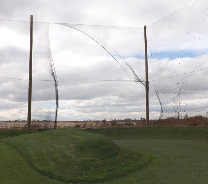 """The nets on the driving range have been damaged. Unfortunately we'll have to close the range until further notice."""
