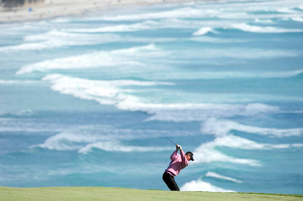 hits on Thursday with the Pacific Ocean as his backdrop. Kaymer played consistent golf all week ending up T8.
