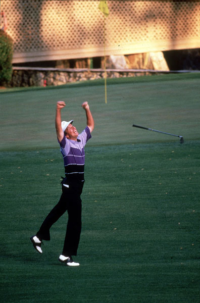 1987                     Larry Mize vs. Greg Norman                     285-285*                     (Won playoff at second hole)                                          Upstart Larry Mize may have been the hometown favorite, but he was the huge underdog in a three-way playoff. After Seve Ballesteros dropped out early, it fell to Greg Norman to burst Mize's bubble. Instead, it was Mize who popped the champagne corks. At the second playoff hole, Mize flared an awful 5-iron approach 45 yards to the right of the 11th hole, then chose sand wedge for his third shot. He bumped it a yard short of the green and watched it track towards the hole — and drop in. Elated, Mize vaulted skyward, arms extended, making for one of golf's most memorable images.