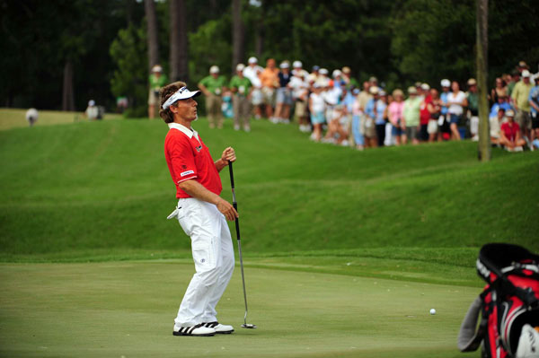 Langer nearly made an eagle on No. 2 for the second straight day.
