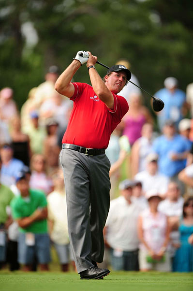 Third Round of the Players Championship                                              Phil Mickelson was moving toward the lead until he hit his drive into the water on No. 14. He made double bogey and finished with a 71.