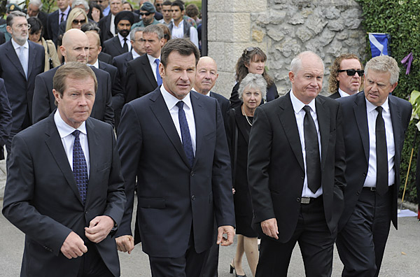 Many European golf luminaries were in attendance to pay their respects to Ballesteros, whose 50 European Tour wins still stand as the most by any player. From left to right, European Tour Chief Executive George O'Grady, Nick Faldo, Roger Chapman and Colin Montgomerie.