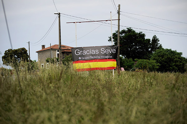 Local residents put up signs, Spanish flags and black ribbons throughout the town to mark the occasion.