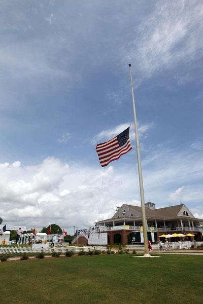 A flag was lowered to half staff in honor of Erica Blasberg, who passed away last week.