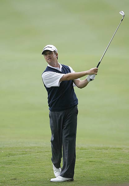David Toms finished his first round with birdies on the final two holes. He is at five under par.