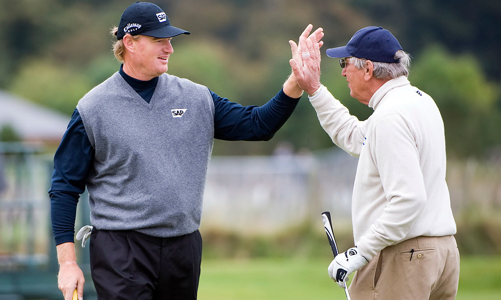 Ernie and Neels Els                     Ernie Els was introduced to the game by caddying for his father, Neels.