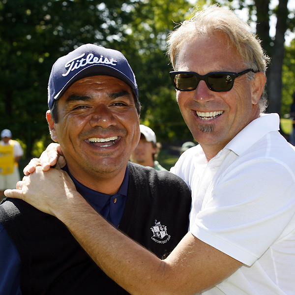 George Lopez and Kevin Costner shared a Kodak moment before their round Saturday at the Nationwide BMW Charity Pro-Am.