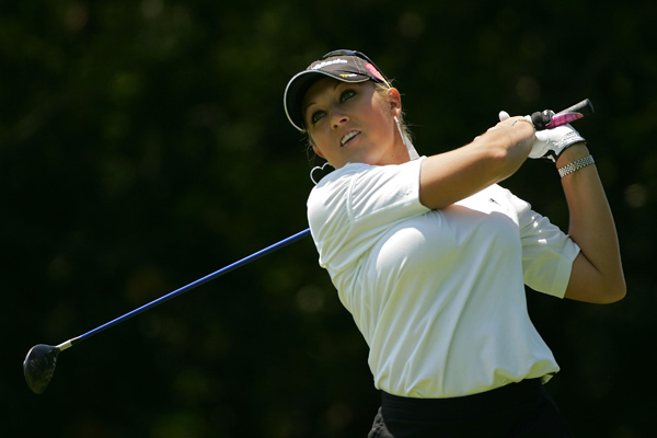 Natalie Gulbis shot a 29 on the front nine. She finished with a 66.