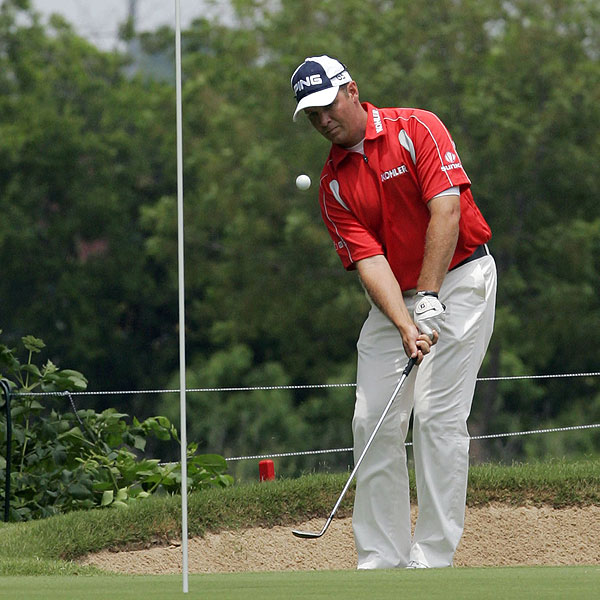 Ted Purdy was able to finish his round, shooting a 64 to leave him in second place.