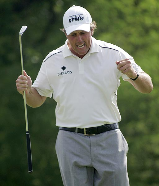 Mickelson made a 9-foot birdie putt on the final hole for a one-stroke victory. The putt was set up by a 140-yard wedge from heavy rough, a shot Mickelson had to hit under one tree and over another, the ball clipping branches while headed sky-high.
