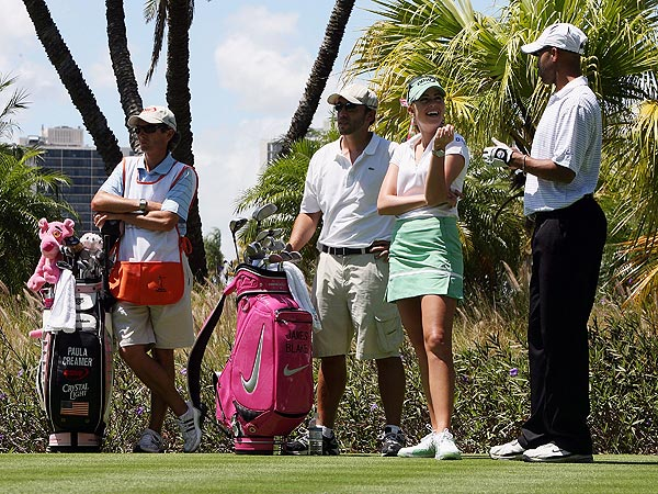 After losing a bet to Creamer, tennis star James Blake had to play the Stanford International Pro-Am using a pink bag.