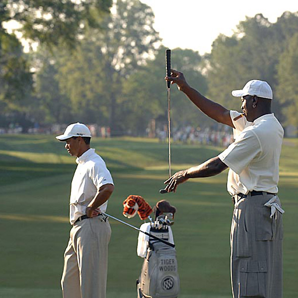 """When asked if they had a friendly wager on their round, Tiger Woods said: """"We're not allowed to bet on the Tour."""""""