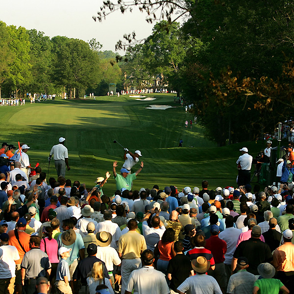 As expected, a huge crowd turned out to watch Woods and Jordan.