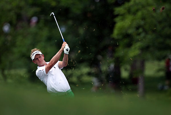 Luke Donald bogeyed 18 to finish at three under.