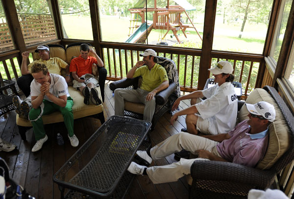 Several players and caddies found shelter at a safe house near the golf course.