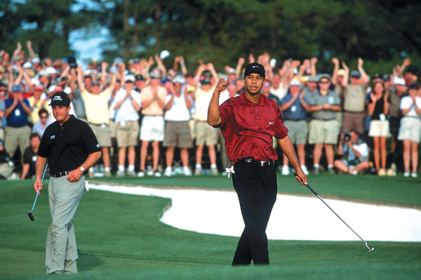At the 2001 Masters, Mickelson finished third as Woods won his second green jacket and fourth consecutive major.