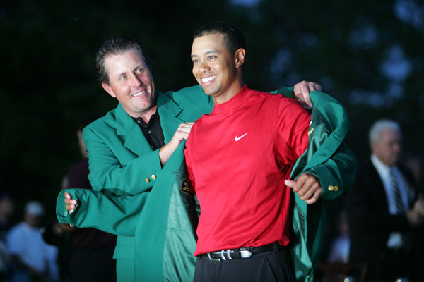 Woods and Mickelson dominated the majors in 2005. Woods won the Masters and the British Open, while Mickelson beat Woods by two strokes at the PGA Championship.