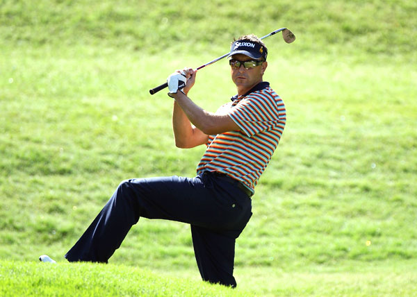 had an awkward stance on No. 8, but he managed to save par. Allenby finished at 8 under.