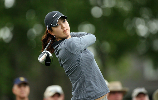 Michelle Wie made five birdies and four bogeys for a 70.