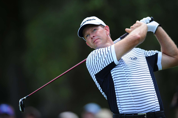 Retief Goosen shot even par, but he remains in the hunt at five-under par.
