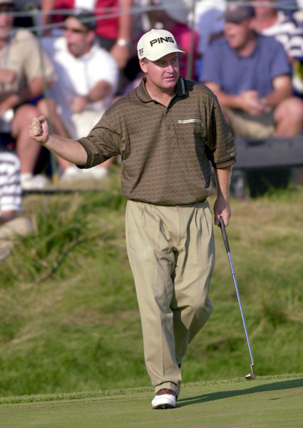 """No. 5                     """"Yes you May!""""                      Bob May sinks a 15-foot putt on 18 to force a playoff with Tiger Woods at the 2000 PGA Championship at Valhalla Golf Club in Kentucky. (Woods won the tournament in a three-hole playoff.)                                          Nantz's only PGA Championship call to crack the top 5. Maybe it was the thrilling head-to-head battle, but the name pun really worked here."""