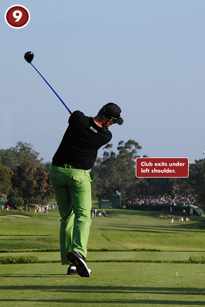9. Your forward-swing plane is a good indicator of the quality of your shots. Stenson's driver shaft exits the impact area just below his left shoulder. That gives him a slight draw and precious extra yards.
