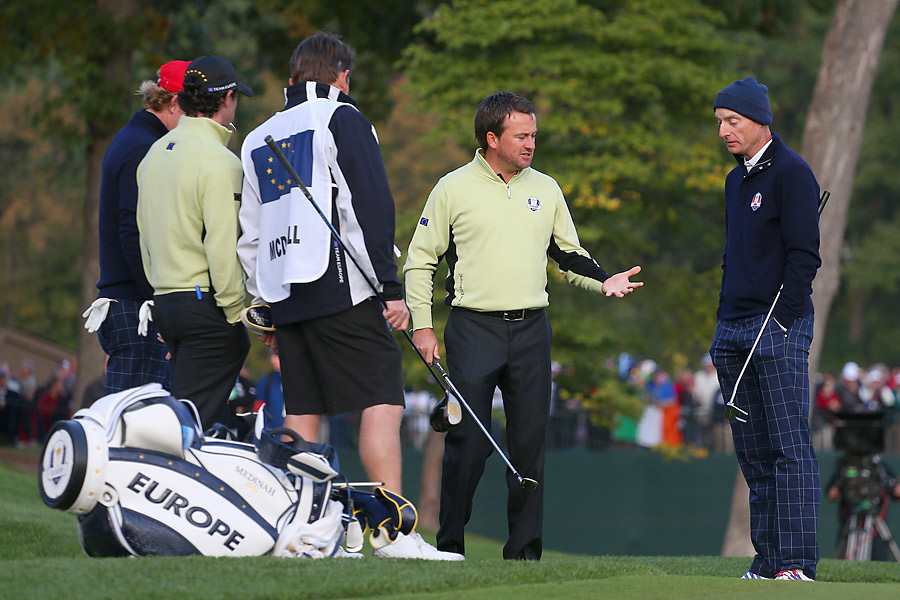 It didn't take long for the Ryder Cup at Medinah to get heated. On the second hole of the first alternate-shot match, which pitted Jim Furyk and Brandt Snedeker against Rory McIlroy and Graeme McDowell, McIlroy's tee shot landed next to a sprinkler near the green. McDowell asked for relief, but Furyk quickly argued that the lie did not allow for a free drop. After a long discussion, the rules official agreed with Furyk, and McDowell was forced to hit the ball from the original lie.