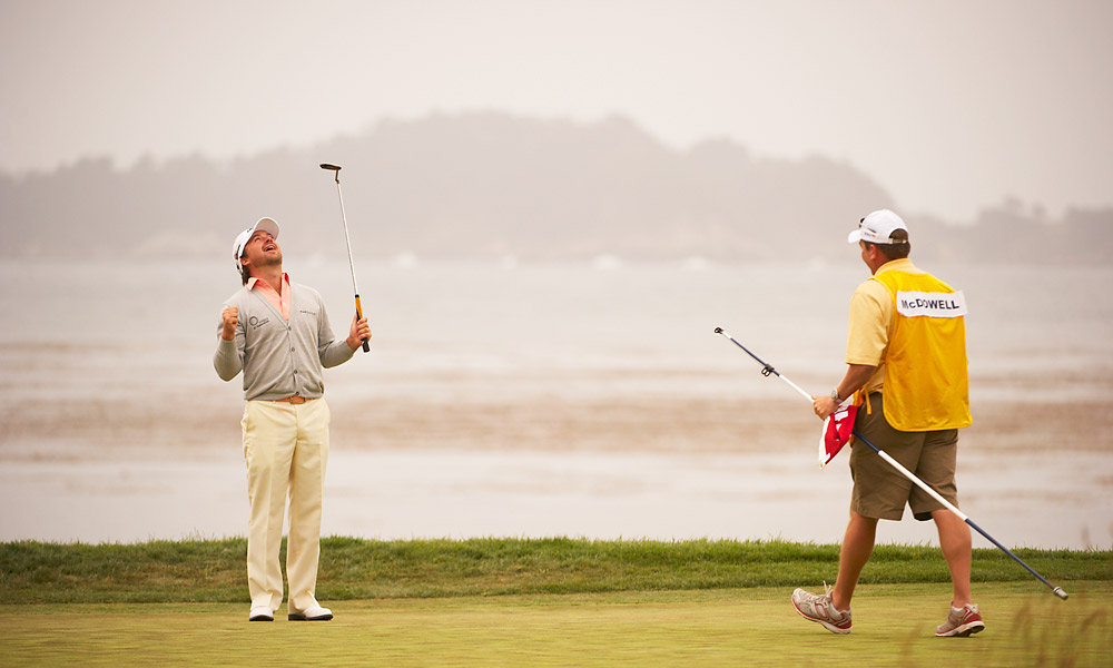 Trailing Dustin Johnson by three shots heading into the final round of the 2010 U.S. Open at Pebble Beach, McDowell closed with a 74 on a tough day to win his first major championship by one stroke.