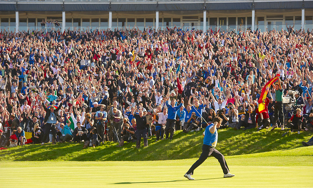 Returning to Celtic Manor for the Ryder Cup, McDowell finished a fine performance by sinking a long putt to defeat Hunter Mahan and secure the final, decisive point in Team Europe's dramatic victory.