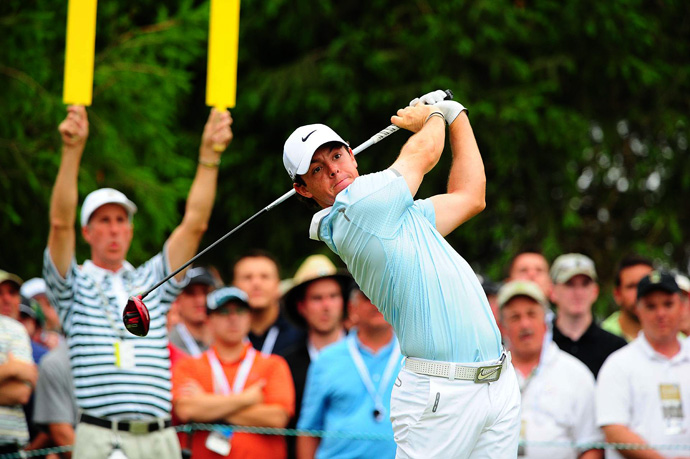 Rory McIlroy made two birdies and two bogeys through 11 holes.