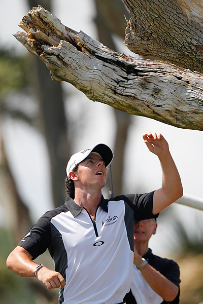 On Saturday at the PGA Championship, Rory McIlroy watched as his drive seemed to disappear near a tree guarding the par-4 third green. After searching with no luck, a TV camerman told McIlroy that the ball was stuck in the tree. Instead of having to go back to the tee for a lost ball, he was able to take an unplayable lie, and he went on to par the hole.