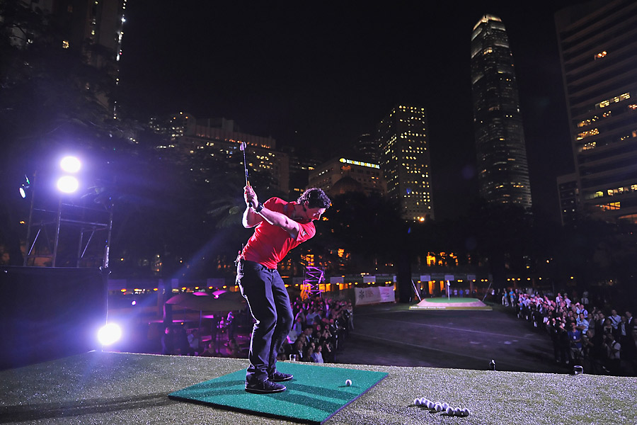 McIlroy participated in an urban golf exhibition in the city Wednesday night.