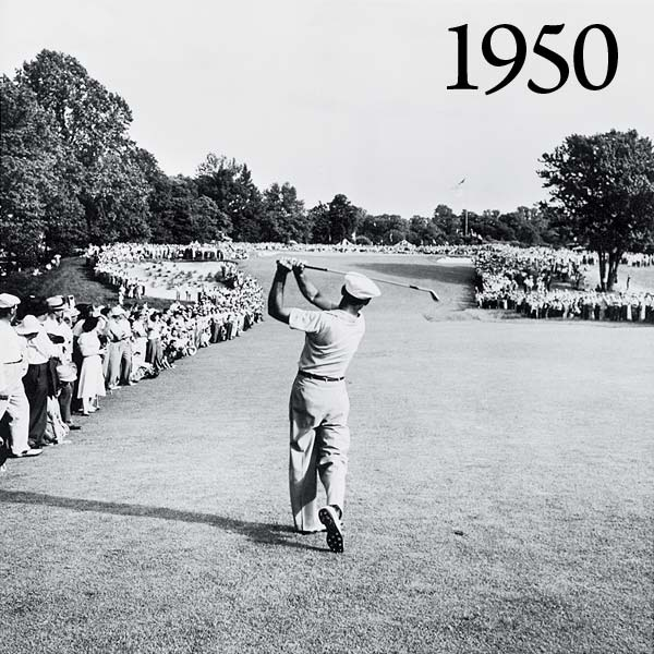 Fighting through injuries suffered in a horrific car crash the previous year, Ben Hogan hits an instant-classic 1-iron on the last hole of a 36-hole final day at Merion Golf Club in Ardmore, Pa., to make a 72nd-hole par and force a playoff — and eventually win. The club then disappears from his bag for years, and Merion somehow gets the date wrong on the commemorative fairway plaque. (It has since been fixed.)