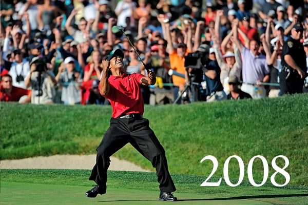 Tiger Woods wins at San Diego's Torrey Pines with a torn ACL and two microfractures in his left leg. He makes clutch putts on the 18th hole two days in a row — first to tie Rocco Mediate and force a playoff, then, the next day, to keep the playoff going. After winning on the 19th hole, Woods goes in for reconstructive surgery and takes the rest of the year off — from golf, anyway.