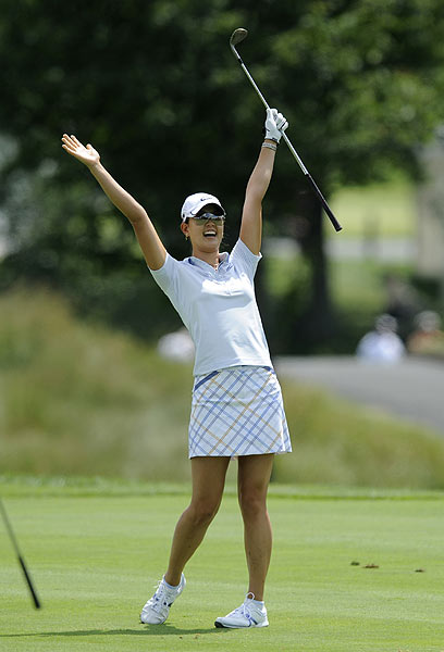 Michelle Wie started her round on Sunday with an eagle, holing out from the fairway. She finished in a tie for 23rd.