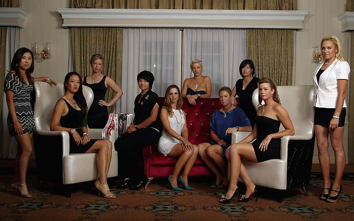 From left to right, Michelle Wie, Morgan Pressel, Yani Tseng, Beatriz Recari, Melissa Reid, Suzann Pettersen, Se Ri Pak, Paula Creamer and Natalie Gulbis during a Welcome Reception Photo Call at the Raffles Hotel prior to the start of the HSBC Women's Champions at the Tanah Merah Country Club on Feb. 22, 2012, in Singapore, Singapore