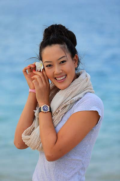 Michelle Wie on the beach at the Jebel Ali Golf Resort and Spa for the 2012 Omega Dubai Ladies Masters on Dec. 2, 2012.