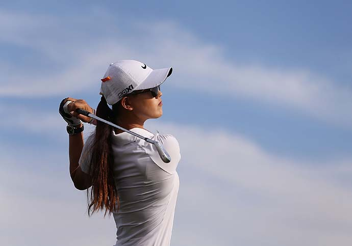 Michelle Wie hits a tee shot on the 17th hole during the second round of the RR Donnelley LPGA Founders Cup at Wildfire Golf Club on March 15, 2013 in Phoenix, Ariz.