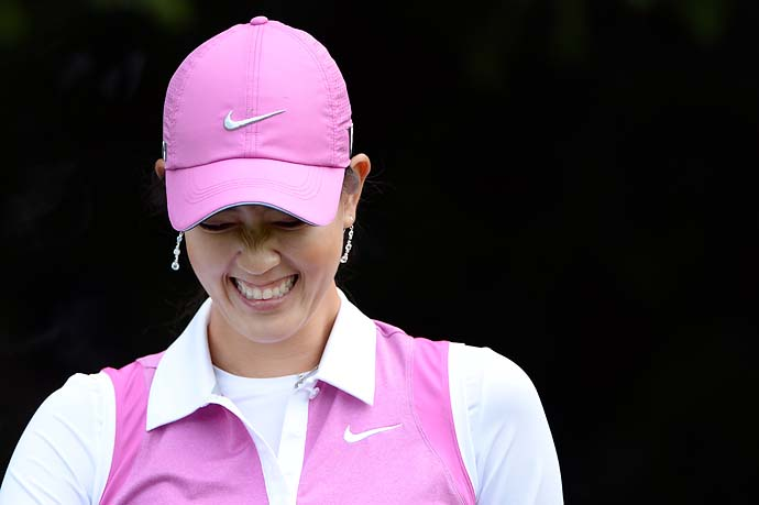 Michelle Wie laughs at the 2013 Evian Championship in Evian, France.