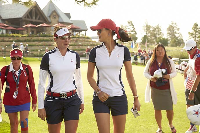 Brittany Lang and Michelle Wie during Saturday Foursomes at the 2013 Solheim Cup on Aug. 17 at Colorado Golf Club.