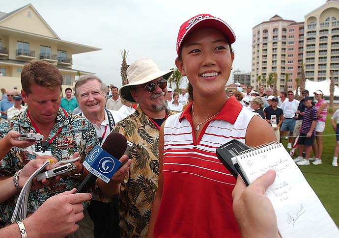Michelle Wie, 13, smiles as she answers questions from the media moments after winning the 2003 U.S. Women's Amateur Public Links Championship by defeating opponent Virada Nirapathpongporn 1-up in 36-hole match play Sunday, June 22, 2003, at Ocean Hammock Golf Club in Palm Coast, Fla. It was Wie's first tournament victory outside Hawaii and she becomes the youngest person ever to win a USGA championship.