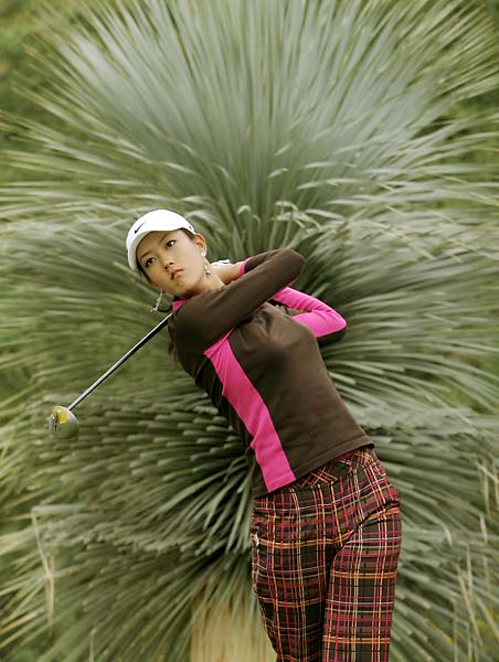 Michelle Wie drives from the fifth tee in the final round of the LPGA Samsung Championship at Bighorn Golf Club in Palm Desert, Sunday, Oct. 16, 2005.