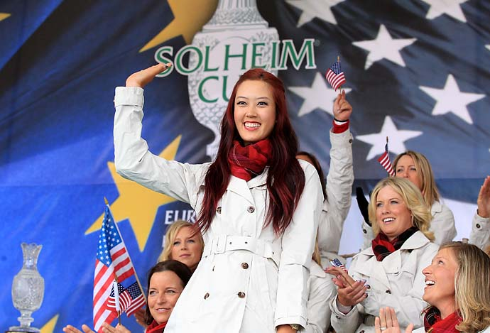 Michelle Wie is introduced during the opening ceremony prior to the 2011 Solheim Cup at Killeen Castle Golf Club on Sept. 22, 2011.